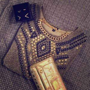 Express Tribal Embellished Sweatshirt
